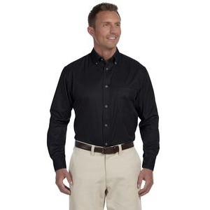 Harriton Men's Easy Blend? Long-Sleeve Twill Shirt with Stain-Release