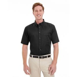 Harriton Men's Foundation 100% Cotton Short-Sleeve Twill Shirt with Teflon?