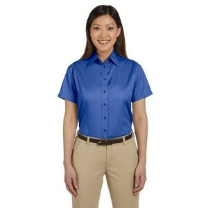 Harriton Ladies' Easy Blend? Short-Sleeve Twill Shirt with Stain-Release