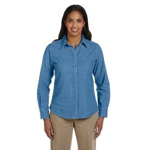 Harriton Ladies' 6.5 oz. Long-Sleeve Denim Shirt