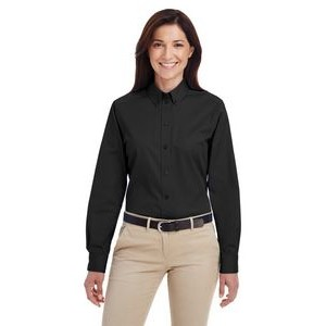 Harriton Ladies' Foundation 100% Cotton Long-Sleeve Twill Shirt with Teflon?