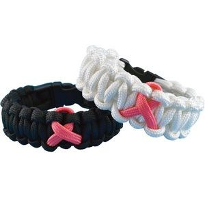 Elite Breast Cancer Awareness Survival Paracord Bracelet with Plastic Clasp