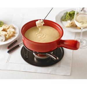 Cardinal Cheese Fondu Set from Trudeau in ceramic and metal