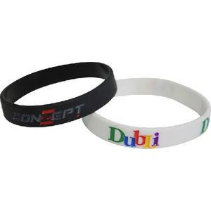 "Silkscreen Silicone Wristbands (7 3/16""x 1/2""/Youth 7 15/16""x 1/2""/Adult )"