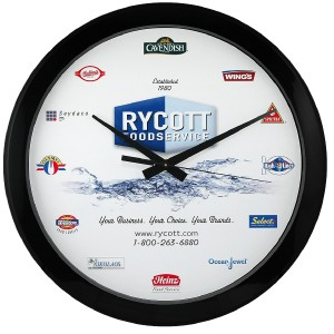 "12"" Economy Round Wall Clock with Full Colour Imprint"
