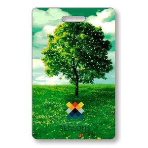 "Lenticular Luggage Tag .040 (2.125"" x 3.375"") Full Colour Custom Flip Imprint on front"