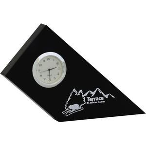 "Acrylic Desk Clock Slope Frame (4 15/16""x 5 7/8""x 3/4"") Screen-printed"