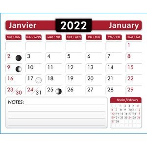 "2019 Calendar Pads Bilingual (French/Engl.) 2.875"" wide x 3.5"" long"
