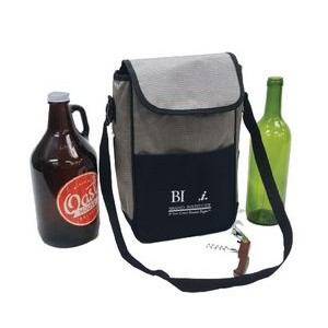 2-Bottle Wine/Growler Cooler with Corkscrew