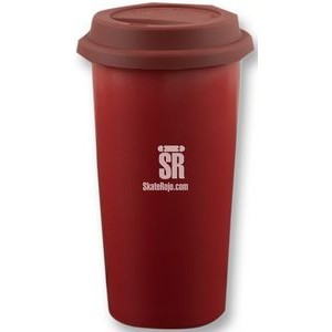 Kensington 12oz 2tone burgundy/white matte double wall tumbler