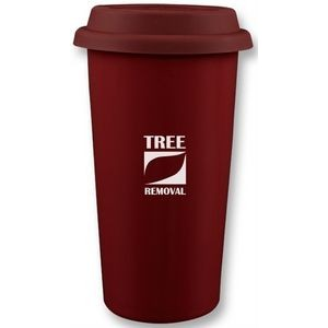 Cape Breton 12oz 2tone burgundy/white glossy double wall tumbler