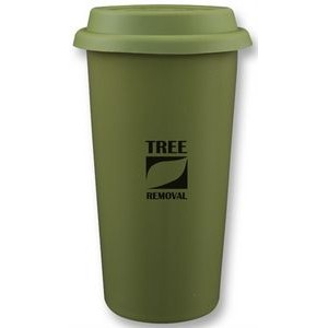 Cape Breton 12oz 2tone green/white glossy double wall tumbler
