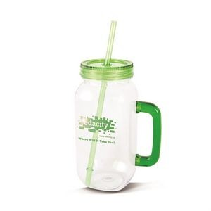The Modern Mason Jar w/Handle - 27oz Lime Green