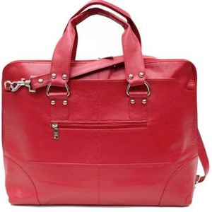 Kellin Ladies Zippered Briefcase - Fire Engine Red