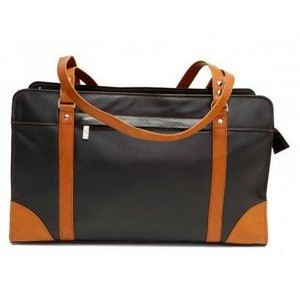 Carlton Ladies Briefcase w/Shoulder Strap (Black/Tan)