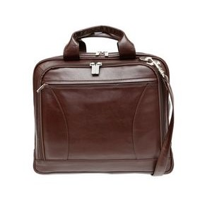 ASHLIN ALASTER Laptop Briefcase | Front Organizer |Dark Brown Leather