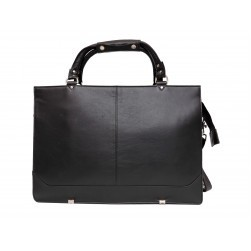 Winchester Slim Briefcase 2 Handles Long Strap (Black Leather)