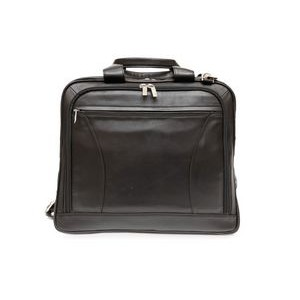 Alaster Laptop Briefcase w/Front Organizer (Black Leather)