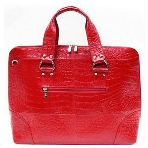 Kellin Ladies Zippered Briefcase (Fire Engine Red)