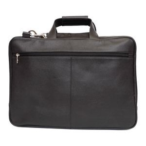 Carson Laptop Briefcase w/Removable Shoulder Strap (Black Leather)