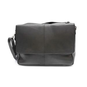 ASHLIN FREDRICK Classic Messenger Briefcase |Black Leather