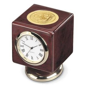 Rosewood Finish Wood Cube Desk Clock - Gold